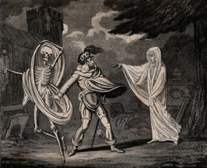 V0042200 A man in armour is confronted by a ghost and a skeleton. Aqu