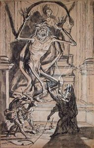 XKH179033 Four Grave Robbers awaken a Ghost (pen & india ink & wash on paper) by Werner, Joseph (1637-1710) pen and india ink and wash on paper 35.2x22.6 © Hamburger Kunsthalle, Hamburg, Germany Swiss, out of copyright