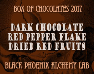 box of chocolates 2017-Dark Chocolate, Red Pepper Flake, and Dried Red Fruits