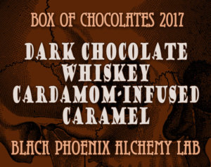 box of chocolates 2017-Dark Chocolate, Whiskey, and Cardamom-Infused Caramel