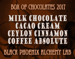 box of chocolates 2017-Milk Chocolate, Cacao Cream, Ceylon Cinnamon, and Coffee Absolute
