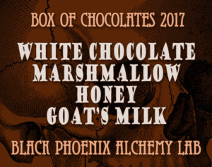 box of chocolates 2017-White Chocolate, Marshmallow, Honey, and Goat's Milk